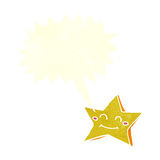 carácter feliz de la estrella de la historieta con la burbuja del discurso Foto de archivo