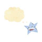 carácter feliz de la estrella de la historieta con la burbuja del pensamiento Fotos de archivo
