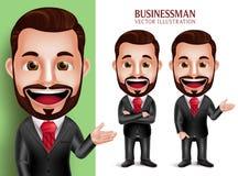 Carácter profesional del vector del hombre de negocios que sonríe en traje corporativo atractivo Foto de archivo libre de regalías