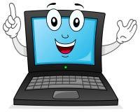 Carácter sonriente del ordenador portátil o del cuaderno Imagenes de archivo