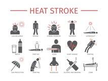 Cardíaco de ataque Sintomas, tratamento Ícones lisos ajustados Sinais do vetor para gráficos da Web Imagem de Stock