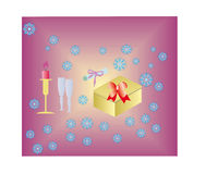 Card. Candle and glasses with a gift box and a bow Royalty Free Stock Image