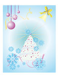 Card. Fur-tree dressed up by toys with a star on a top against falling snow and a hand bell calling in honour Royalty Free Stock Photo