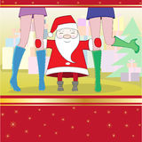 Card. Santa embraces long feet of girls Royalty Free Stock Photos