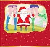 Card. Santa embraces long feet of girls Stock Photos