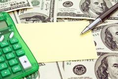 Card. Money calculator card pen on a table Stock Photos