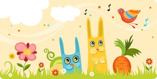 Card. Vector illustration of a cute easter rabbits Royalty Free Stock Photography