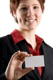 The Card. Woman holding a blank white business card Stock Photo