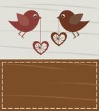 Card. Loving birds on valentines card, space to insert your text or design Royalty Free Stock Images