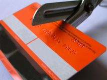 Card. Credit card being cut up royalty free stock photo