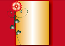 Card. Abstract red flower on a yellow and red background Royalty Free Stock Photo