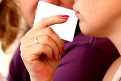 Card. The woman wiht blank card royalty free stock photography