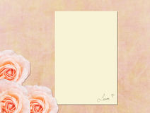 Card. Framework for a photo or note with beautiful pink roses Royalty Free Stock Photo