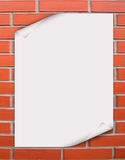 Card. White paper on to the brick Royalty Free Stock Image