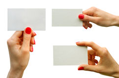 Card. Blank  in a hand Stock Photography