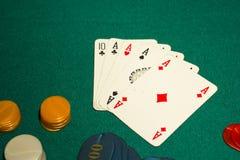 5-card abgehobener Betrag, Poker, vier Asse Stockbilder