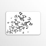Card with abstract background with music notes Royalty Free Stock Images