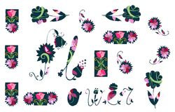 Card with abstract flowers on white background. Royalty Free Stock Photo