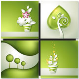 Card with abstract green paper backgrounds. With tree and flowers in pot Royalty Free Stock Photo