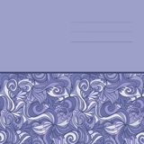 Card with abstract hand-drawn lilac waves pattern Stock Images