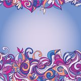 Card with abstract hand-drawn waves pattern Royalty Free Stock Photo