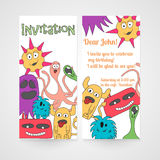Card with abstract monsters pattern. Invitation for birthday. Vector illustration Stock Photos