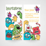 Card with abstract monsters pattern. Invitation for birthday. Stock Photo