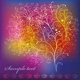 Card with abstract stylized tree. With ornaments and apples on bright colorful background stock illustration