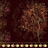 Card with abstract stylized tree. With ornaments and apples on dark burgundy background stock illustration