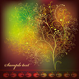 Card with abstract stylized tree. With ornaments and apples on dark burgundy background vector illustration