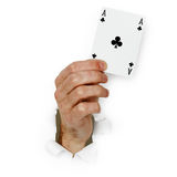 Card ace in hand Stock Images