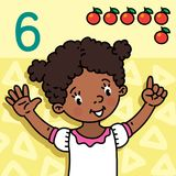 Girl showing six by hand Counting education card 6. Card 6. African girl in white dress on light-yellow background. Kid`s hands showing the number six hand sign Stock Images