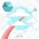 Card with airplane and colored trace flying through hand drawn  clouds Stock Photography