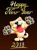 Card Akita Inu on black. Card the lovely puppy yellow Akita Inu standing on hinder legs and letters Happy New Year 2018. Colorfull dog, vector cartoon Stock Photo