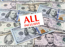 Card All inclusive on dollars background stock image