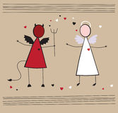 Card Angel and Devil. Card abstract angel and Devil Stock Image