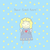 Card with angel in a dress with stars and halo Stock Photo