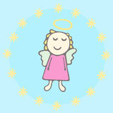 Card with angel in a dress with stars and halo. Sweet angel in pink dress Stock Photography