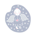 Card Angel with a heart in the snow Stock Image