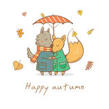 Card with animals. Card with cute cartoon wolf and fox in love. Funny animals under  umbrella. Autumn time. Falling leaves. Rainy weather. Children's Royalty Free Stock Photos