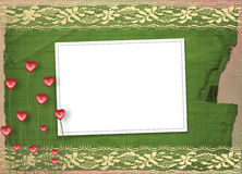 Card for anniversary with  lace and  hearts Royalty Free Stock Photos