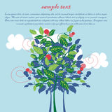Card with apple tree and clouds Royalty Free Stock Photography