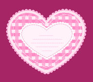 Card with applique heart. Card with applique pink heart Royalty Free Stock Photo
