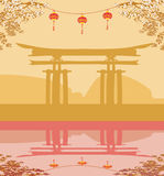 card with Asian buildings and cherry blossoms Royalty Free Stock Photography