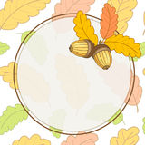 Card Autumn-01 Converted -01. Greeting card with colorful oak leaves and acorns.Frame with place for text.Circle.Beautiful vector illustration on the theme of Stock Photos