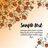 Card with autumn doodling floral pattern Royalty Free Stock Photos