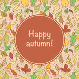 Card with autumn leafs Royalty Free Stock Photography