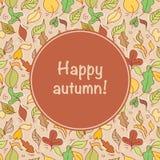 Card with autumn leafs Stock Photos