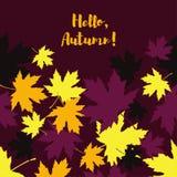 Card with autumn maple leaves. Golden Autumn. Flat design vector illustration