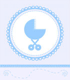 Card for baby boy. With a baby carriage and lace Royalty Free Stock Photos